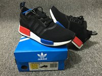 Wholesale Classic Adidas NMD R1 Monochrome Mesh Triple White Black Men Shoe Women Running Shoes Sneakers Originals NMD Runner Primeknit Casual Shoes