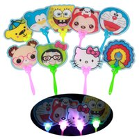 Wholesale helllo kitty cartoon LED Flashing Hand Fan Colorful Acrylic Night Glowing light flashing Fan Light up Kids Toys Party Decoration