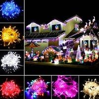 al por mayor x mas luces-ARTÍCULO DE LA PROMOCIÓN Gran discout 100 LEDs Luces de la secuencia del LED 10M 110V / 220V para la decoración clara de la Navidad del alambre Con las luces del día de fiesta del conectador X'mas