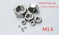Wholesale 1000pcs M1 DIN934 A2 Stainless Steel Hex Nuts SUS304 Metric Fastener M1 M2M2 M3M4M5M6M8M10M12M14 M33 Aailable