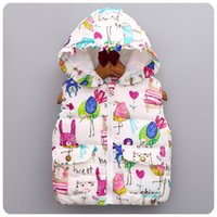Wholesale Good quality bird cartoon Graffiti printed baby girls Tench coats Outwear for kids Waistcoat with Hoods girl autumn fall winter new