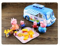 Cheap New Arrival pink pig Peppa Family With blue bus Picnic Foods Cartoon Pig christmas Toys for girls