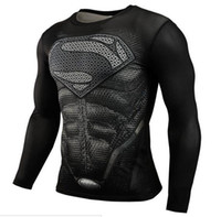 american muscle - 2016 Hot Fitness Superman Bodybuilding Long Sleeve D T Shirts Muscle Superhero American Captain polyester compression men t shirts Tees