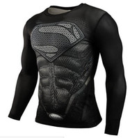Wholesale 2016 Top Fitness Superman Bodybuilding Long Sleeve D T Shirts Muscle Superhero American Captain polyester compression men t shirts Tees