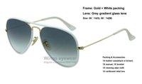 Nouveau pilote JM Lunettes de soleil en métal de style couleur 146/32 Cadre en or blanc Lentille en verre à gradient gris Grande qualité gafas de sol en gros