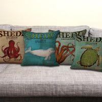 beluga whale - USA Shedd Aquarium Sea Life Octopus Beluga whale Turtle Pillow Case Cushion cover linen cotton Throw Pillowcase Cover Home sofa