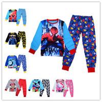 Wholesale 2016 Christmas Sleepwear Pajamas Set Styles Kids Spiderman Batman Hello Kitty Long Sleeve Tshirt Pants Suits Cartoon Pyjamas Clothes