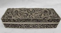 art jewelery - 2 Chinese Royal Palace White Copper Silver Two Dragon Play Bead Jewelery Box