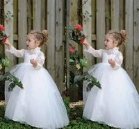 Wholesale Vintage Toddler Cheap Long Sleeves Flower Girls Dresses White Lace First Girl Communion Dresses High Neck Kids Pageant Prom Party Gown