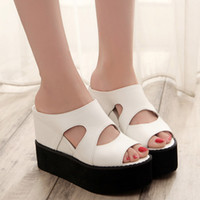 Wholesale Summer Style Women Shoes Open Toe Platform Sandals Thick Bottom Casual Shoe High Heel Slip On Slippers Size TX0363 smileseller