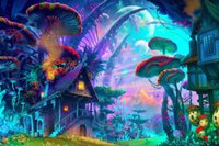 art mountain - ecorating with tulle fabric drawing nature psychedelic colorful house mushroom planet plants mountain fantasy art poster Waterproof Canva