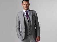 Wholesale 2016 New Arrival Custume Made LIght Grey Men Suits Slim Fit Fashion Men Suits Wedding Party Prom Best ManTuxedos Jacket Pants Vest Tie