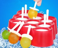 Wholesale 9PC Popsicle Sticks Jelly IcePop Ice Cream Safe Silicon Frozen Mold Maker Crushed Ice