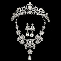 Wholesale Fashion Wedding Party Bridal Charming Jewelry Sets Rhinestone Crystal Crowne Jewelry Set Necklace Earrings Pendant Set Vintage Accessories