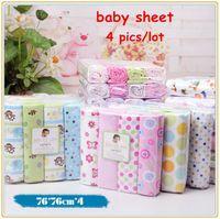 Wholesale 4pcs newborn baby bed sheet bedding set x76cm for newborn crib sheets cheap cot linen cotton blanket