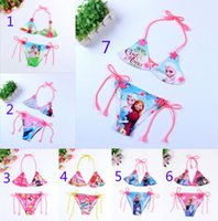 Wholesale 7 Design Frozen Mickey Minne Princess Girls Bikini Swimsuit Set NEW Children summer Princess elsa anna swimwear swimming suit B001