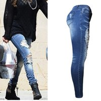 Wholesale Women s Slim Ripped Hole Jean Fashion Casual Blue Destroyed Denim Distressed Ripped Skinny Jeans Pants Size S XL
