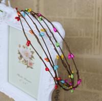 artificial cotton stems - cheap handmade brown fabic stem mixed berry wedding hair wreath Artificial Wreaths