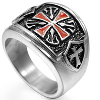 antique shield - Size Stainless Steel Crusader Cross Ring Antique Retro Vintage Knight Templar Medieval Shield Biker Wedding Engagement Cocktail