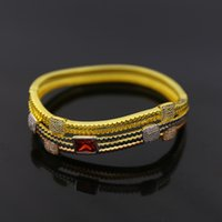 Wholesale multilayer irregular wavy purple diamond inlaid gold plated bangles for women copper ornaments k gold plated Micro Pave full nautral stone