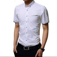 Wholesale Summer Business Casual Male Shirt Men s Cotton Clothing Formal White Shirt Slim Male Short sleeve