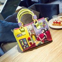 big fun bags - 2016 new women s D flower handbag cartoon patchwork big tote fun boston bag with city girl printing