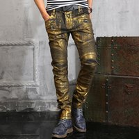 acid wash high - High Quality Fashion Designer Balmain Men Jeans Gold Coating Printed Jeans For Men BLM Brand Skinny Jeans Men Biker Jeans Trousers