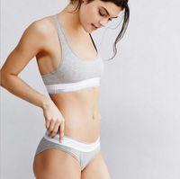 Wholesale branded High Quality womens Modal underwear suit cotton vest sports bra briefs set woman s underwear Pants Brief