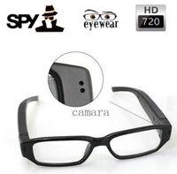 Wholesale 720 fps Camera Eyewear Ultra thin flat glasses on the left lens Hidden Spy SunGlasses camera Dvr Video Audio Recorder Mini DV