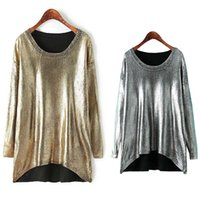 Wholesale Women s Fashion Sequin Hi low Knit Sweater Spring Autumn Long Sleeve Pull Over Style Loose Blouse Gold