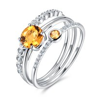 Cheap Nickel-free 1.1ct 100% Genuine Yellow Citrine Sterling Silver Jewelry Stackable Rings for Women Xmas Gift