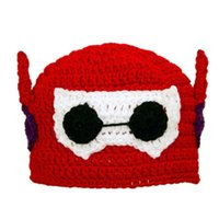 baby robot costume - Novelty Crochet Big Hero Hat Handmade Crochet Baby Boy Girl Cartoon Red Robot Hat Kids Halloween Costume Infant Toddler Photo Prop