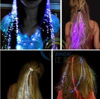 Wholesale Flash LED Hair Light Emitting Fiber Optic Pigtail Braid Plait Luminous Hair Wig KTV Party Prom Supplies Hair Accessory headdress
