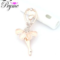 ballet pin - Pryme Girl Ballet Dance Brooch Broche Pin Up Hijab K Gold Plated Crystal Brooch Resin Ribbon Brooch Pin for Women X