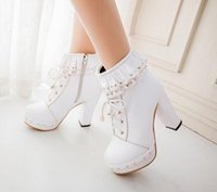 bare boots - Lolita Japanese sweet new winter flounced hollow bare boots and ankle boots waterproof thick high heeled boots female