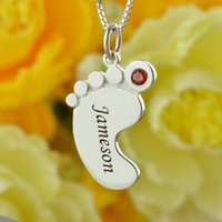 baby name jewelry - Birthstone Mom Necklace Baby Feet Necklace Engraved kids Name Mother Necklace Silver Celebrate Moms Children Name Mother Jewelry