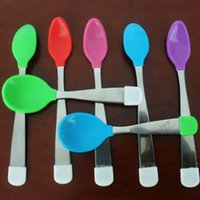Wholesale Hot sale BABY Toddler Spoons Large Silicone Head Feeding Spoon Soft Curved Tip Perfect Babyshow Gift