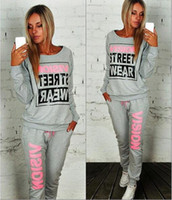 Wholesale 2016 Sets New Age Season Fashion Lady Round Collar Letter Two Color Fleece Long sleeved Two piece Outfit