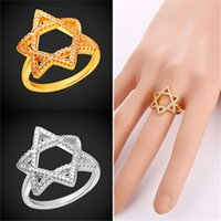 Wholesale Fashion Women Magen David Jewelry Gift Platinum Plated K Real Gold Plated Star of David Rings