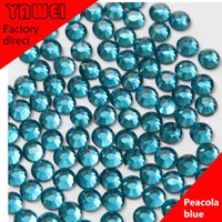 Wholesale Peacola blue crystal Hot drilling Rhinestones Flatback Round gross in a Nail Art Hot Fix Shoes Rhinestones