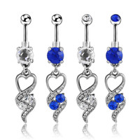 Cheap Heart-shaped Embrace Diamond Chic Surgical Steel Heart Rhinestone navel Belly button Rings Body Piercing Jewelry