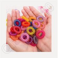 Wholesale 1000lot CCA3718 High Quality Candy Color Telephone Line Mix Color Fashionable Gum Elastic Ties Wear Hair Ring Spring Rubber Band Accessory