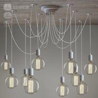 Wholesale Nordic Vintage White Lustres chandeliers arms Retro Adjustable DIY Art Spider Pendant Lamp suspension luminaires