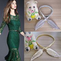 Wholesale Long CM width CM metal leaf Ms elastic waistband elastic Gold chain women waist rope Fashionable dress belt E242