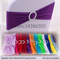 Acheter Arcs décorations mariage-100PCS Elastic Stretch Chair Bands With Buckle Slider Sashes Bow For Wedding Home Party Fournisseurs Décorations 24 couleurs Options ECB-MIX100
