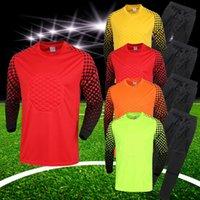 Wholesale 2015 new kids soccer goalkeeper jersey set men s sponge football long sleeve goal keeper uniforms goalie sport training suit