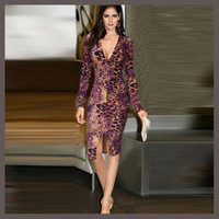 Wholesale 2016 New Style Fashion Star Of The Same Paragraph Elegant Sexy Dresses Slim Package Hip Long Sleeved Unique Leopard Print Casual Dress For W
