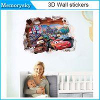Wholesale Cheaper Wall Stickers - cheap wall stickers kid bed play room movie cars decoration diy 3d cartoon film fantastic window nursery kids mural art 010260