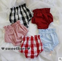 Pantalon court d'été Prix-New Check Baby Girls Shorts 2016 Été Plaid ruffle taille haute enfants Shorts coton pp pantalons bloomers lanterne Kids Mini Shorts 6578
