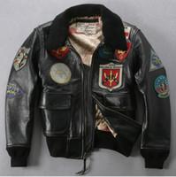 air force leather bomber jacket - Fall U S Air force pilot jacket plus size fur collar badge leather bomber jacket men black winter leather jacket coat men avirex fly